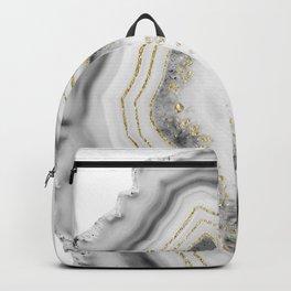 White Agate Gold Foil Glam #1 #gem #decor #art #society6 Backpack