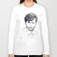 david tennant Long Sleeve T-shirts featuring David Tennant as Broadchurch's Alec Hardy (or Gracepoint's Emmett Carver) Etching by ieIndigoEast