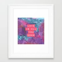 all you need is love Framed Art Prints featuring LOVE IS ALL YOU NEED by INA FineArt