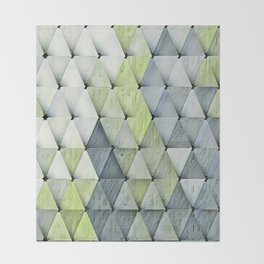 Textured Triangles Lime Gray Throw Blanket
