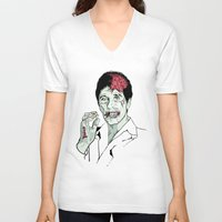 scarface V-neck T-shirts featuring Zombie Al Pacino Scarface  by Jane Hazlewood