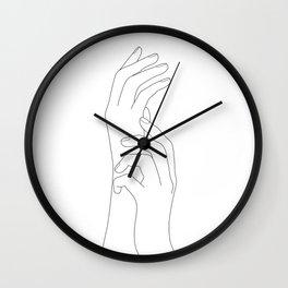 Minimal Line Art Feminine Hands Wall Clock