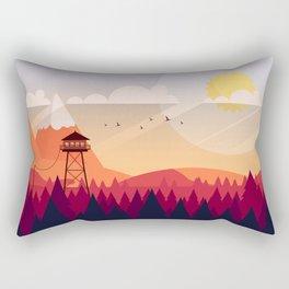 Vector Art Landscape with Fire Lookout Tower Rectangular Pillow