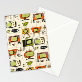 Retro TV Pearl Orange #spaceage Stationery Cards