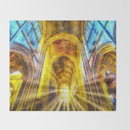 Bath Abbey Sun Rays Art Throw Blanket