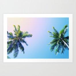 Coco Palm Trees on Pink Blue Sky Art Print