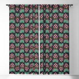 Folk Art Yucca Botanical Floral Pattern - Dark Blackout Curtain