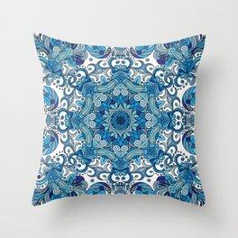 Blue Boho Mandela Pattern Throw Pillow