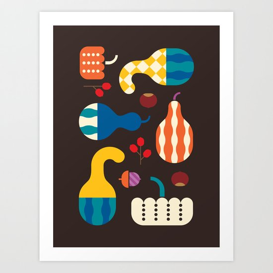 Autumn Gourds Art Print