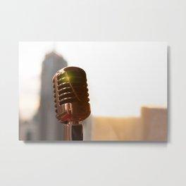 Retro microphone on stage Metal Print