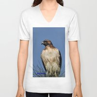 snatch V-neck T-shirts featuring Red-Tailed Hawk on Watch at Foothill and B Street by Ralph S. Carlson