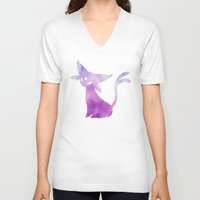 eevee V-neck T-shirts featuring Espeon by Zeke Tucker
