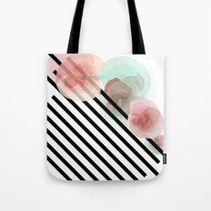 Watercolor Floral with Stripes Tote Bag