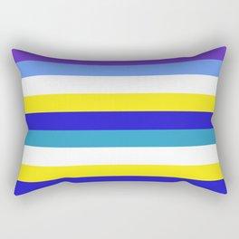 Blue, yellow and white stripes Rectangular Pillow