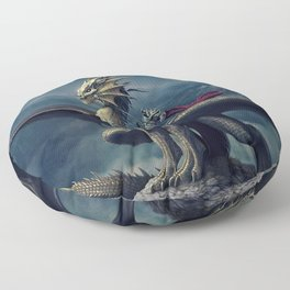 Stunning Amazing Warrior Riding Winged Fairytale Reptile Monster UHD Floor Pillow