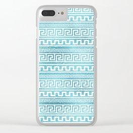 Gentle Blue Greek Meander Pattern on glass Clear iPhone Case