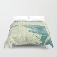 maryland Duvet Covers featuring Maryland State Map Blue Vintage by City Art Posters