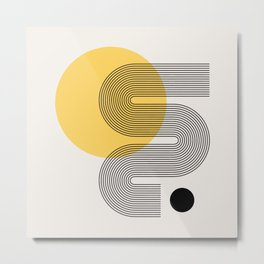 Abstraction_NEW_SUN_YELLOW_BLACK_LINE_POP_ART_0299A Metal Print
