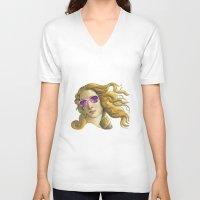 popart V-neck T-shirts featuring Venus the Popart Goddess by Ugurcanozmen