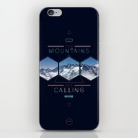 the mountains are calling iPhone & iPod Skins featuring THE MOUNTAINS ARE CALLING by MATT WARING