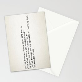 """Loving someone -even when it's scary..."" -Cassandra Clare Stationery Cards"