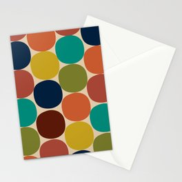 Mod Dots Midcentury Modern Pattern in Mid Mod Turquoise, Orange, Olive, Blue, Mustard, and Beige Stationery Cards