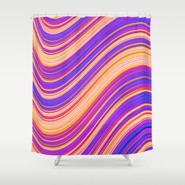 Colorful Wavy Stripes Shower Curtain