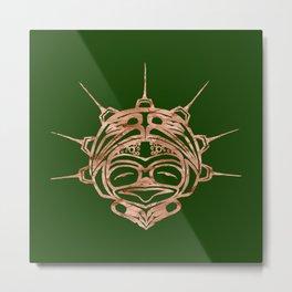 Copper Frog Grass Metal Print