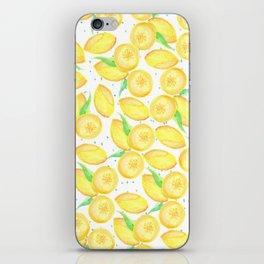 Sunshine yellow orange blue watercolor lemon fruit pattern iPhone Skin