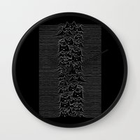 joy division Wall Clocks featuring Furr Division Cats by Tobe Fonseca