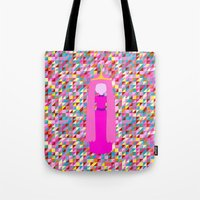 princess bubblegum Tote Bags featuring PRINCESS BUBBLEGUM by Andrew Inc.