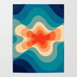 Retro 80s Blue and Orange Mid-Century Minimalist Abstract Art Poster