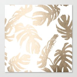 Simply Tropical Palm Leaves in White Gold Sands Canvas Print