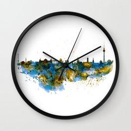 Berlin watercolor skyline Wall Clock
