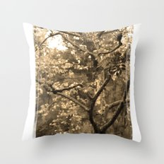 Tree of Hearts - Sepia Throw Pillow