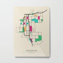 Colorful City Maps: Anchorage, Alaska Metal Print