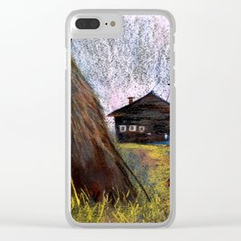 Hay mowing in the village Clear iPhone Case