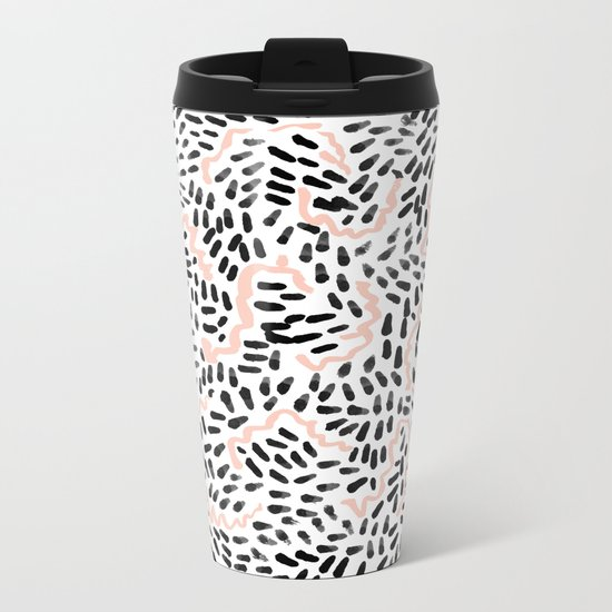 Katli - abstract dots swirls minimal black and white pastel pink pattern decor Metal Travel Mug