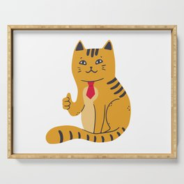 Contented cat in a red tie shows thumb up Serving Tray