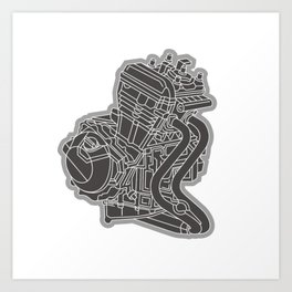riding with one cylinder engine motorcycle Art Print