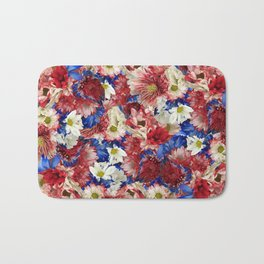 Red White Blue Flora Bath Mat