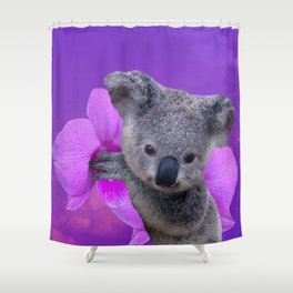 Koala and Orchid Shower Curtain