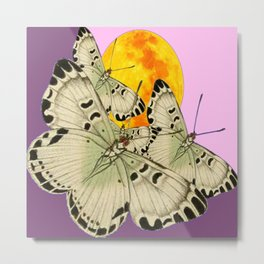 GOLDEN MOON MOTHS ON PUCE & PINK Metal Print