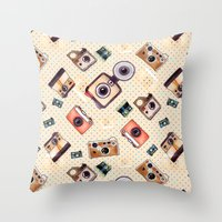 camera Throw Pillows featuring camera by Dibujados