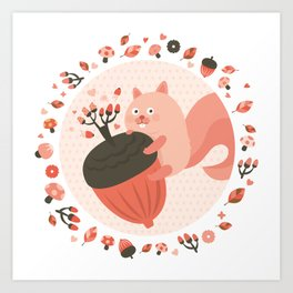 Pink Squirrel Art Print