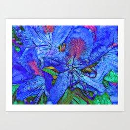 Rhododendron Aqua Art Print