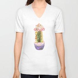 Papercraft Cactus in Orange Unisex V-Neck
