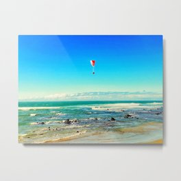Paragliding Over Ocean Waves at the Beach Metal Print