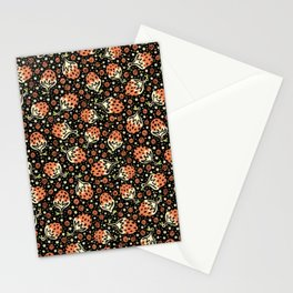 Wild Strawberry Field , Woodcut Style Fruit Pattern Illustration Red on Black Stationery Cards
