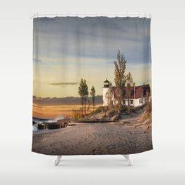 Point Betsie Lighthouse at Sunset Shower Curtain